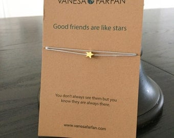 Friendship Necklace, Star Choker, Gold, for Kids, Girls and Women, Adjustable, in 16 Colors