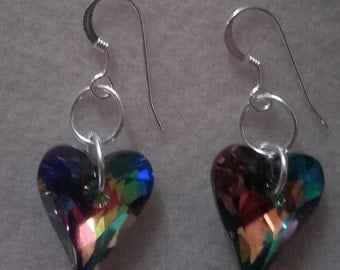 Hand made swarovski crystal wild hearts on sterling silver wires