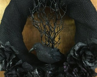 Raven shadow  silhouette wreath