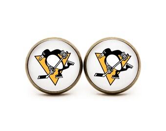 Pittsburg Penguins Stud Earrings Pittsburg Penguins jewelry Stud Hockey NHL Team Sport Custom earrings Choose Your favorite team