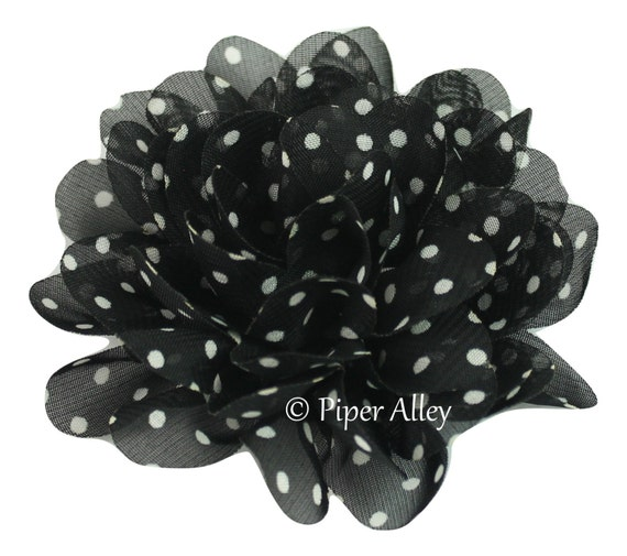 Black To Black Flowers 4: Black Chiffon Petal Flower Large Fabric Flower 4