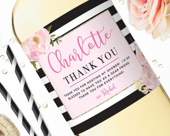 hostess gift bridal shower wine labels personalized baby shower