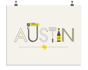 Austin - a Travel inspired, limited edition screenprint
