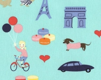 One Yard Mint  Dear Stella Jack & Lulu French Lessons Paris Motif  Children Fabric Post Free