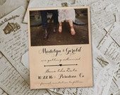 """Wedding Save The Date Magnets - RusticHut Vintage Photo Personalized 4.25""""x5.5"""""""