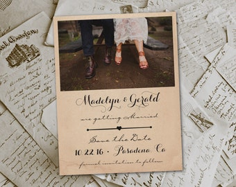 "Wedding Save The Date Magnets - RusticHut Vintage Photo Personalized 4.25""x5.5"""