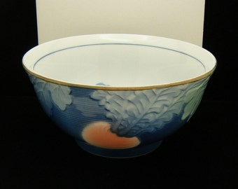 Andrea Sadek Japan Bowl Blue White Radish Turnip Vegetable Raised Design