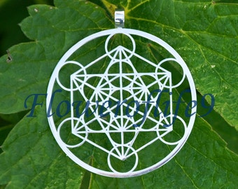 Metatron's Cube pendant (1 3/4 inch) - Stainless Steel