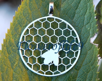 Bee pendant (1 inch) Stainless Steel