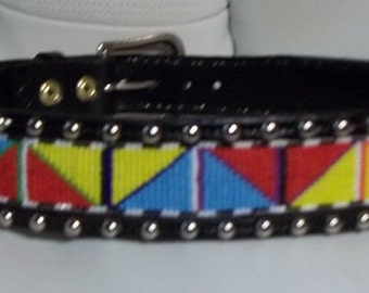 Made and ready to ship, Handmade leather belt with spots