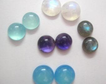 Lot of Mix Gemstone Labradorite, Aqua Chalcedony, Blue Chalcedony, Amethyst, Rainbow Moonstone 10x10 MM Round Cabochons