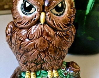 "Vintage Retro Ceramic Owl Bank ""Be Wise Save"" Coin Bank"