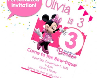 Minnie Mouse Bow-tique Birthday Invitation Digital