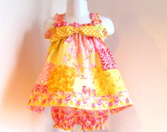 Baby Dress, sz 3-6mo, Baby Girl Dress, Baby Summer Dress, Baby Sundress, Baby Girl Clothes, Baby Girl Clothing, Yellow Pink Floral.
