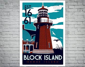 Block Island  Light House Retro Vintage  Screen Print poster Rhode Island