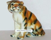 Bone China Taiwan Sitting Tiger Animal Figurine High gloss