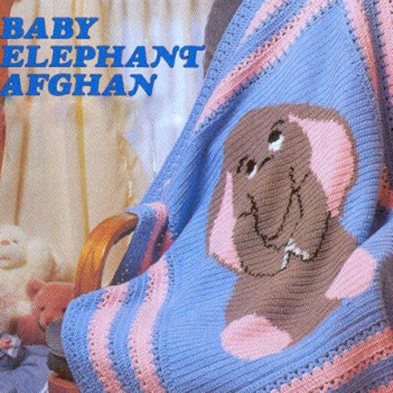 Vintage Crochet Pattern Pdf Baby Elephant Afghan Baby Pram