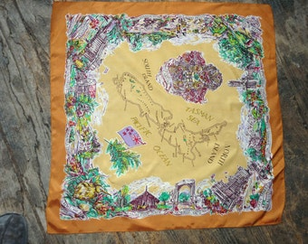 Souvenir scarf from New Zealand, a Graemor scarf, acetate