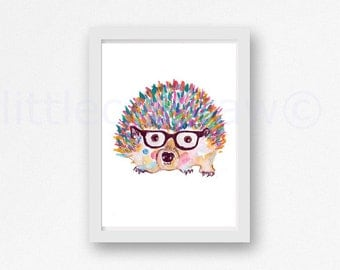 Hedgehog Print Geek Hedgehog with Glasses Colorful Watercolor Painting Print Animal Watercolor Wall Art Wall Decor