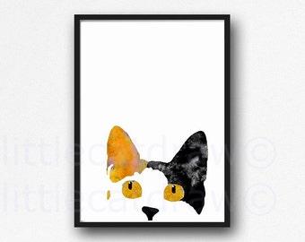 Peeking Calico Cat Kitty Cat Art Print Watercolor Painting Art Print Orange Cat Unframed Art for the Cat Lover