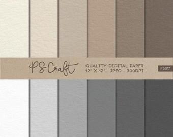 "Craft Paper Digital Papers, ""CRAFT PAPER"" texture, Plain Digital Paper Pack"