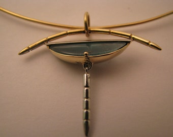 Tourmaline Pendent with 18kt yellow gold and platinum