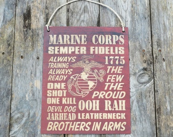 Original USMC Red Wooden Engraved Wall Hanging, Engraved Wall Decor, Rustic Marine Corps Sign