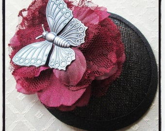 Butterfly & Silk Millinery Flower Cocktail Hat Fascinator Hair Clip
