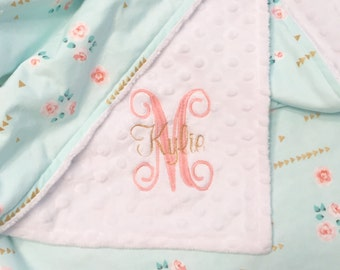 Mint Floral and Minky Dot Baby Blanket