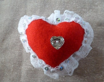 Hand Made Red Heart felt and lace Pin Cushion