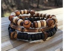 Men's Wood Beaded Bracelet Set/ Men's Bracelets/ Wood Bracelets
