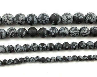 natural gemstone snowflake obsidian beads black white obsidian matte beads round loose stone beads 4mm 6mm 8mm 10mm 12mm 15'' strand