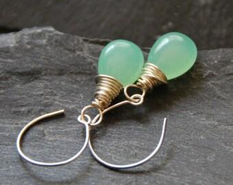 Light green teardrop earrings, Silver hoop earrings, Wire wrapped Jade earrings, Bridesmaid jewelry, Personalized birthday gift, 1153-10