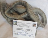 2.2 oz Handcrafted Rolags - All Natural Light Silver Grey Alpaca 1.6 oz. blended Silk Merino Top .6 oz