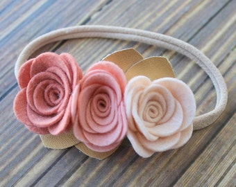 Felt flower headband - nylon headband - One size fits most