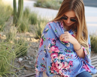 Sky Flowers Nursing Poncho Doubles as a Carseat Cover/ Full Coverage Nursing Cover