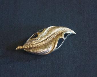 Vintage Silver/Gold Leaf with Rhinestones Brooch