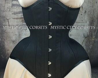 "MCC-112 ""Anti-Muffin"" long torso Black cotton underbust waist training tightlacing steel boned corset  MystiC City Corsets"