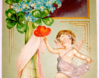 Valentine Postcard, Art Deco style Postcard, Cupid Presents His Love with a Vase of Flowers-Forget Me Nots