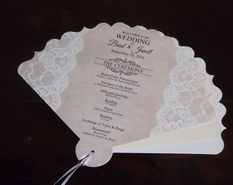 Wedding Program Fans, Vintage Lace Personalized Wedding Programs, more colors