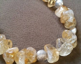 Chunky Citrine Stone Necklace