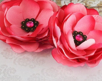 """Prima - """"Aria-Pink"""" Two Fabric Flowers  Jewel Centers - 561970"""