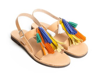 THALATTA TASSELS III,multi-colored leather tassels sandals handcrafted in Greece