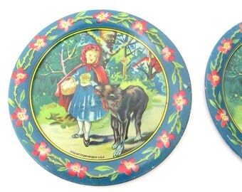 Antique Ohio Art Little Red Riding Hood Tin Litho Plates and Saucers / Set of 4 Ohio Art Litho Toy Tea Set Plates