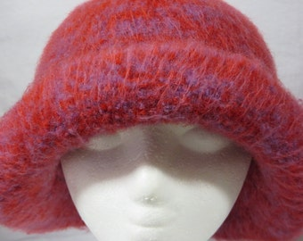Hat Wool Felted Red & Purple Mix with Half Rolled Brim