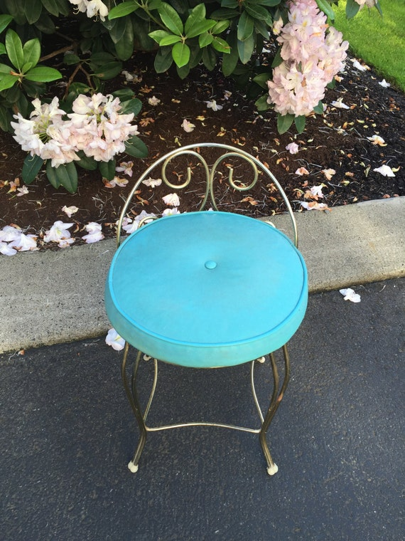 Vintage Teal Vanity Chair Hollywood Regency Vanity Stool