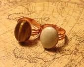 Tigereye & Riverstone Adjustable Ring Set