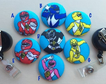 Retractable Badge Holder - Fabric Covered Button - Power Rangers