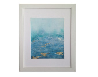 Original 8x10 Watercolor Abstract Painting with Gold Leaf Framed and Matted.  11x14 Frame Size
