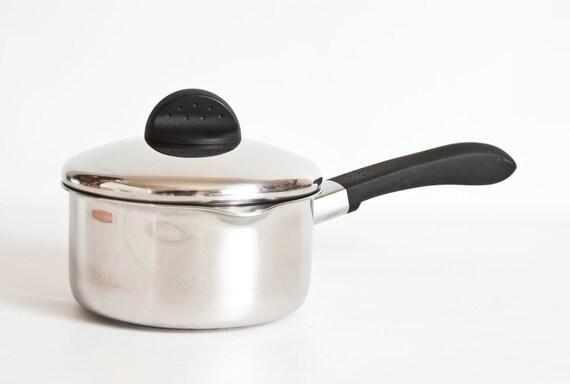 vintage revere ware pour spout tri ply 1 qt pot strainer lid. Black Bedroom Furniture Sets. Home Design Ideas